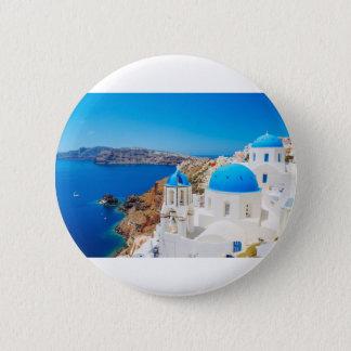 Badge Rond 5 Cm Île de Santorini - caldeira, Grèce