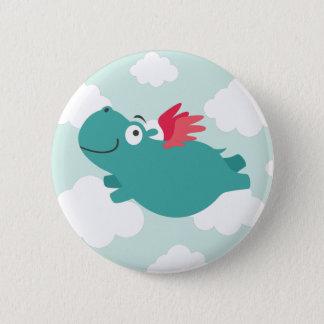Badge Rond 5 Cm Illustration d'hippopotame de vol