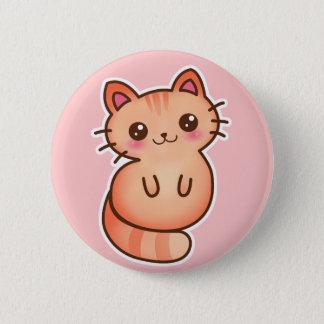 Badge Rond 5 Cm Illustration orange mignonne de chat de Kawaii