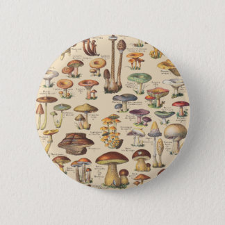 Badge Rond 5 Cm Illustration vintage des champignons