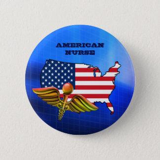 Badge Rond 5 Cm Infirmière américaine. Boutons patriotiques de