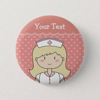 Badge Rond 5 Cm Infirmière avec les cheveux blonds