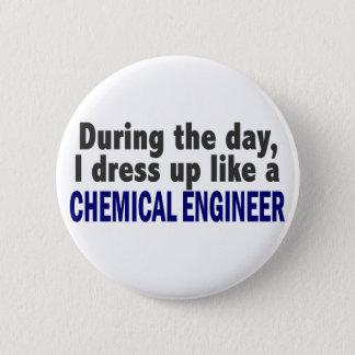 Badge Rond 5 Cm Ingénieur chimiste au cours de la journée