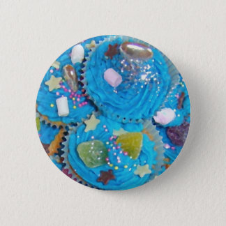 Badge Rond 5 Cm Insigne bleu de bouton de petits gâteaux