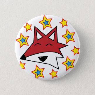 Badge Rond 5 Cm Insigne de Fox et de bouton d'amusement d'étoiles