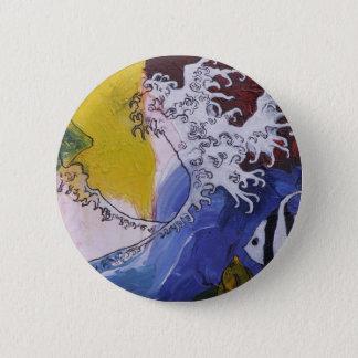 Badge Rond 5 Cm Insigne d'une peinture inspirée par Hokusai