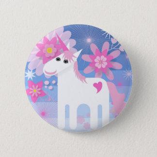 Badge Rond 5 Cm Insigne rond de licorne assez rose