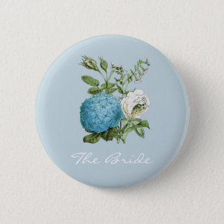 Badge Rond 5 Cm Insignes floraux bleus personnalisés de partie de