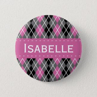 Badge Rond 5 Cm Jacquard rose, gris, noir et blanc