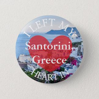 Badge Rond 5 Cm J'ai laissé mon coeur au bouton de Santorini Grèce
