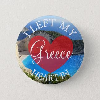 Badge Rond 5 Cm J'ai laissé mon coeur dans le bouton de la Grèce