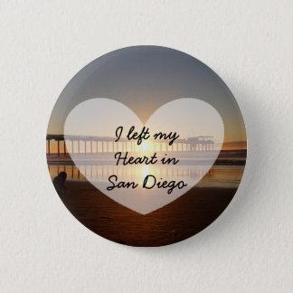 Badge Rond 5 Cm J'ai laissé mon coeur dans le bouton de San Diego