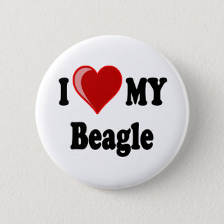 Badge Rond 5 Cm J'aime (coeur) mon chien de beagle