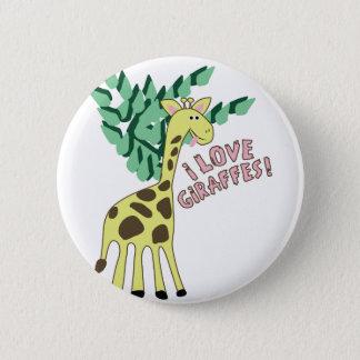 Badge Rond 5 Cm J'aime des girafes !