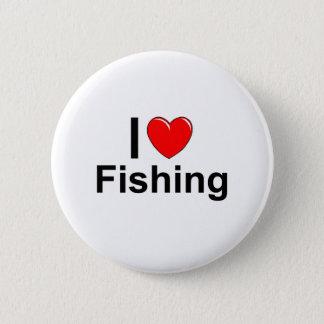 Badge Rond 5 Cm J'aime la pêche de coeur