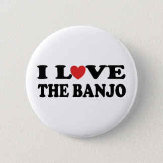 Badge Rond 5 Cm J'aime le banjo