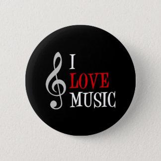 Badge Rond 5 Cm J'aime le bouton de musique