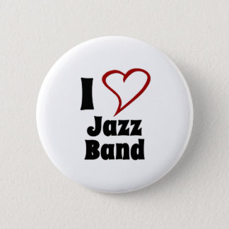 Badge Rond 5 Cm J'aime le jazz-band