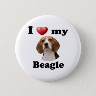 Badge Rond 5 Cm J'aime mon beagle