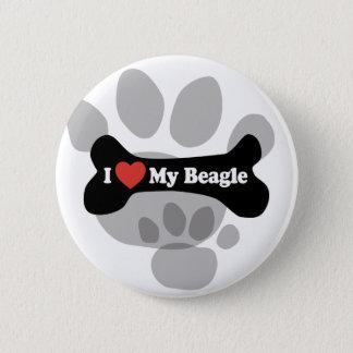 Badge Rond 5 Cm J'aime mon beagle - os de chien