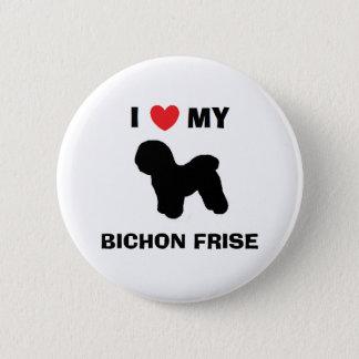 """Badge Rond 5 Cm """"J'aime mon bouton de Bichon Frise"""""""