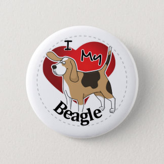 Badge Rond 5 Cm J'aime mon chien heureux et adorable drôle mignon