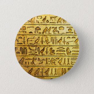 Badge Rond 5 Cm Jaune égyptien antique d'hiéroglyphes