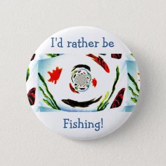 """Badge Rond 5 Cm """"Je pêcherais plutôt"""" les poissons abstraits"""