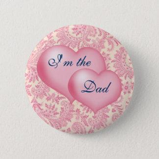 """Badge Rond 5 Cm """"Je suis rose du papa"""""""