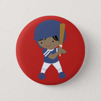Badge Rond 5 Cm Joueur de baseball sur le bouton rouge