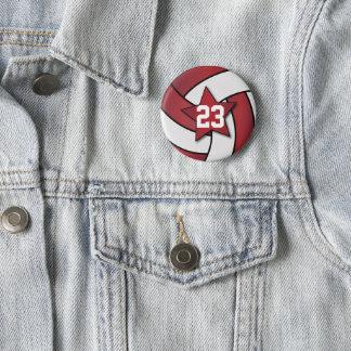 Badge Rond 5 Cm Joueurs rouge foncé et blancs d'étoile de