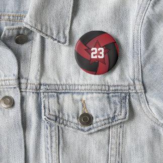 Badge Rond 5 Cm Joueurs rouge foncé et noirs d'étoile de