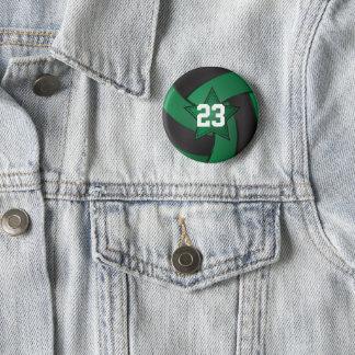 Badge Rond 5 Cm Joueurs vert-foncé et noirs d'étoile de volleyball