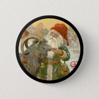 Badge Rond 5 Cm Jultomten alimente à chèvre de Noël un biscuit