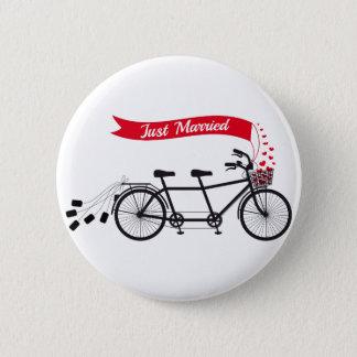 Badge Rond 5 Cm Juste marié, épousant la bicyclette tandem