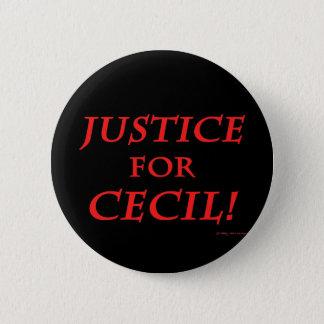 """Badge Rond 5 Cm """"Justice pour Cecil !"""" Bouton noir"""