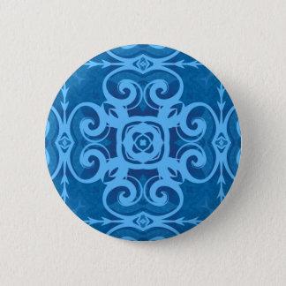 Badge Rond 5 Cm Kaléidoscope bleu élégant