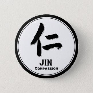 Badge Rond 5 Cm Kanji de samouraïs de vertu de bushido de