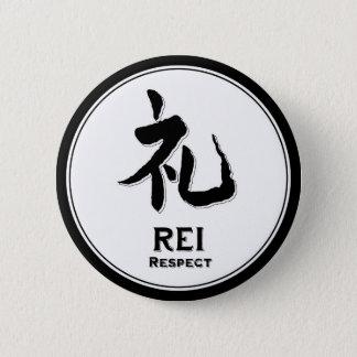 Badge Rond 5 Cm Kanji de samouraïs de vertu de bushido de respect
