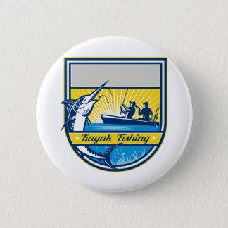 Badge Rond 5 Cm Kayak pêchant l'insigne de Marlin bleu