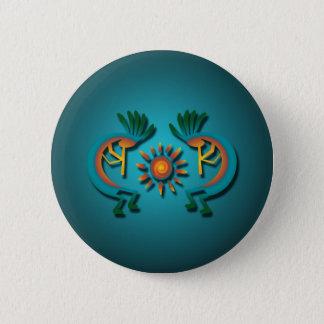 Badge Rond 5 Cm Kokopelli avec le bouton de Sun