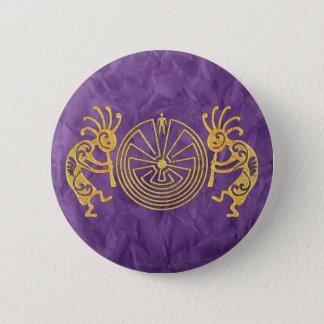 Badge Rond 5 Cm KOKOPELLI/HOMME DANS l'or de LABYRINTHE + vos