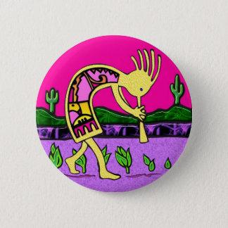 Badge Rond 5 Cm Kokopelli, joueur de cannelure du désert