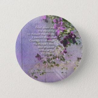 Badge Rond 5 Cm La barrière de prière de sérénité fleurit le