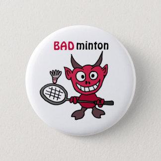Badge Rond 5 Cm La CZ diable jouant la bande dessinée de badminton