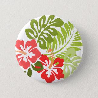 Badge Rond 5 Cm La ketmie rose et rouge de ressort fleurit Hawaï