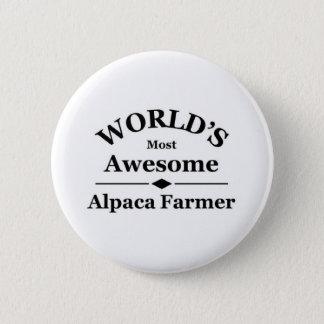 Badge Rond 5 Cm L'agriculteur de l'alpaga le plus impressionnant