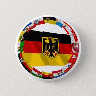 Badge Rond 5 Cm L'Allemagne et ses Laender ondulant des drapeaux