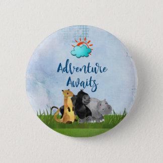 Badge Rond 5 Cm L'aventure attend - hippopotame et Meerkat de