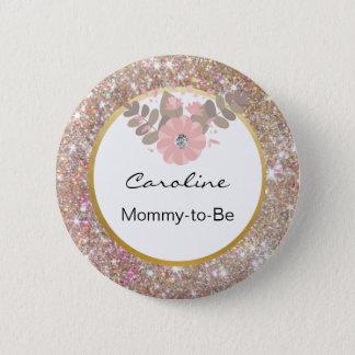 Badge Rond 5 Cm Le baby shower de rose de scintillement d'or